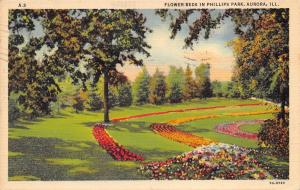 Aurora Illinois 1945 Postcard Flower Beds In Phillips Park