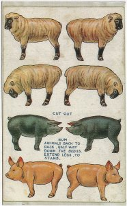 Vintage Reproduction of a RARE 1907-1915 Cut-Out Farm Animals Pig Sheep Postcard