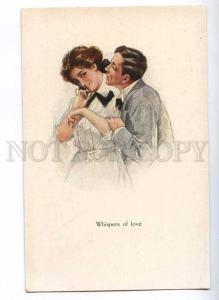 189718 Whispers of Love LOVERS by FISHER Vintage postcard