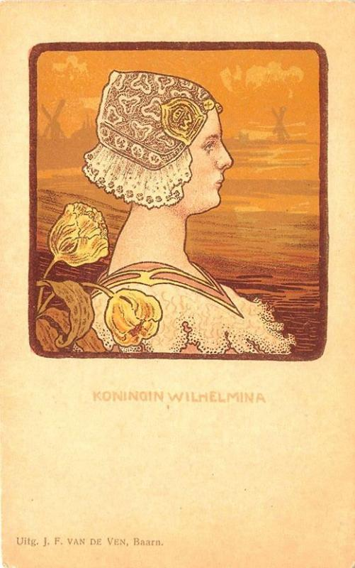 Paul Berthon unsigned Koningin Wilhelmina Art Nouveau Woman Postcard