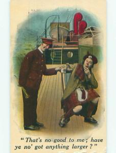 Unused Bamforth comic SCOTTISH MAN IN KILT ON SHIP BOAT k8009
