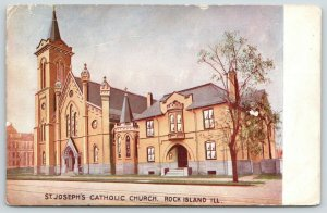 Rock Island Illinois~St Joseph Catholic Church~Artist Drawn~1907 Postcard