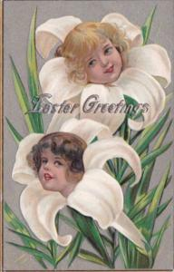 Easter Beautiful Easter Lilies With Young Girls' Faces 1909