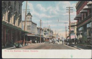 Honolulu HA Hawaii, Business District, trolley c1905 Private Mailing Card PC