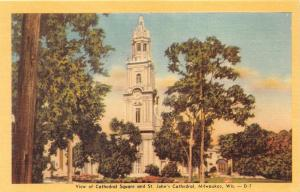 Milwaukee Wisconsin~Cathedral Square & Saint John's Cathedral~1949 Postcard