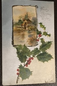 Vintage embossed Christmas postcard greeting card 1906