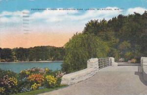 Wisconsin Milwaukee Footbridge Across Washington Park Lagoon 1944