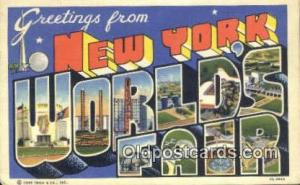 New York, USA Large Letter Town Postcard Post Card Old Vintage Antique 1939