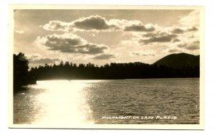 NY - Lake Placid. Moonlight on Lake Placid    *RPPC