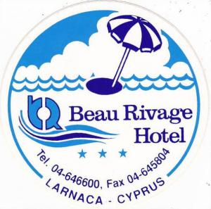 CYPRUS LARNACA BEAU RIVAGE HOTEL VINTAGE LUGGAGE LABEL