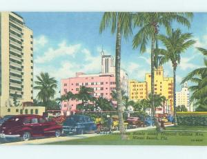 Unused Linen STREET SCENE Miami Beach Florida FL W1438
