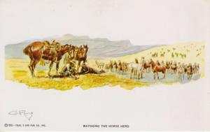 Watching The Horse Herd  Charles M. Russell Artist CM Trails End Postcard D28