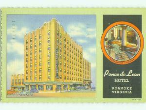 Linen PONCE DE LEON HOTEL Roanoke Virginia VA HQ3599