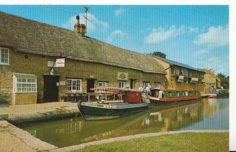 Northamptonshire Postcard - The Boat Inn, Stoke Bruerne, Grand Union Canal 4336A