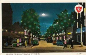Cliftonville (Kent), England, UK, 1973 , Norfolk Road at night , Christmas Li...