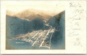 WALLACE Idaho RPPC Real Photo Postcard Bird's-Eye Panorama City View 1907 Cancel