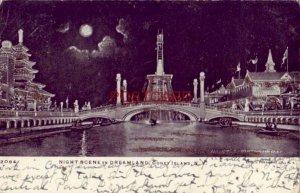 pre-1907 NIGHT SCENE IN DREAMLAND, CONEY ISLAND,  N. Y. glitter card 1906
