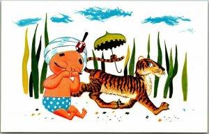 Vintage SAMBO'S RESTAURANTS Advertising Postcard Racial Comic / Tiger Umbrella