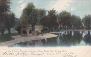 Michigan Detroit Drinking Fountain and Lake Water Works Park 1906 Rotograph