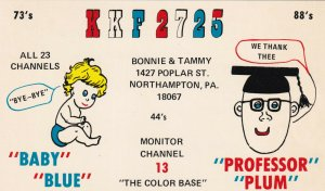 QSL CARD, NORTHAMTON, Pennsylvania, 1950-1960s; KKF2725, Bonnie & Tammy