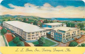 Freeport Maine~L L Bean Inc Factory~Salesroom~1950s Artist Drawn Postcard