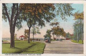Maine Portland View On Western Promenade 1924