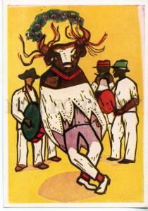 153694 Brazil BULL Dance by Skliar Old postcard