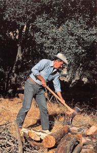 Ronald Reagan, Chopping Wood Movie Star Actor Actress Film Star Postcard, Old...