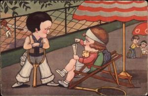 Great Art Deco - Fancy Kids Break From Tennis Smoking Drinking c1920s-30s PC