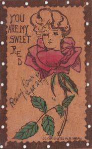 RAINY RIVER , Ontario , Canada , 1906 ; Rose Girl Greetings ; Leather Postcard