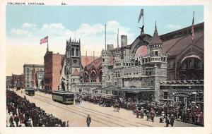 Chicago Illinois~Coliseum~Crowd along Wabash Avenue~Trolleys~Flags~Kunz Bros Pc