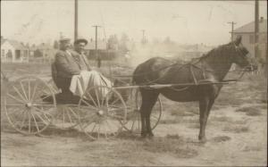 Horse Drawn Wagon Men w/ Blanket c1910 Real Photo Postcard