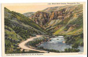 WY Thermopolis Wind River Canyon Wyoming Highway US 20 Vtg Linen Postcard