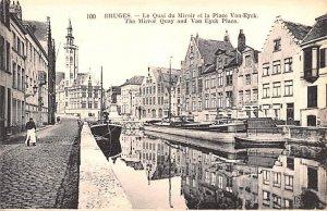 The Mirror Quay and Van Eyck Place Bruges Belgium Unused