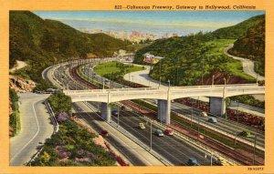 California Hollywood Cahuenga Freeway Curteich