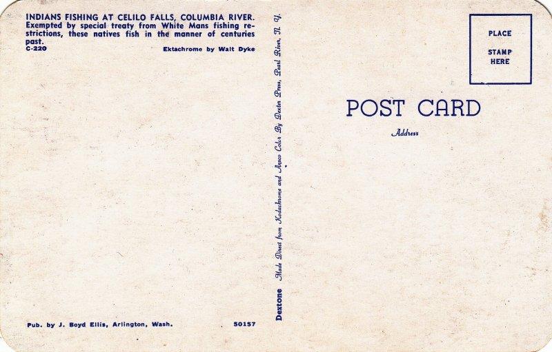 P1808 vintage indians fishing at celio falls columbia river