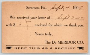 Scranton PA~De Meridor Co~Greaseless Face Cream Mfg~to Ira Failing Ilion NY~1909