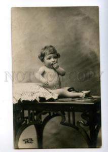 156301 Baby w/ Lavalier on Table Vintage PHOTO PC
