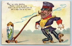 Postcard WW1 Kaiser Wilhelm Roller Skating John Rockefeller Pipeline 1914 Q15