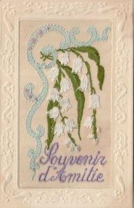 Embroidered, 1900-10s; Souvenir ditmilie, White bell flowers