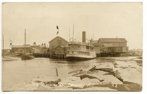 Sakonnet RI Steamer Islander at The Dock in 1917 RPPC Real Photo Postcard