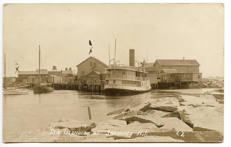 Sakonnet RI Steamer Islander at The Dock in 1917 RPPC Real Photo Postcard