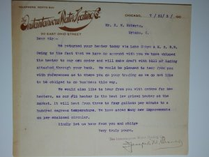 1903 INSTANTANEOUS WATER HEATING CO Inquiry CHICAGO Letterhead