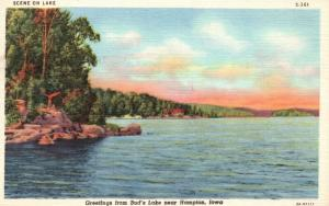 Greetings from Bud's Lake, near Hampton, Iowa, IA, 1948 Vintage Postcard e9222