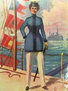 Woman Navy PC 1907 1915 WW1 Mather Uniform Sword Ship Flags Miss Lieutenant