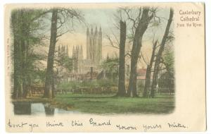 UK, Canterbury Cathedral, from the River, 1904 used Postcard