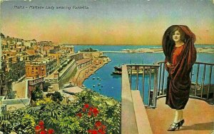 Malta Maltese Lady Wearing Faldetta Harbour Boats Panorama Postcard