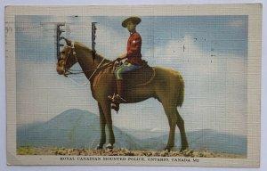 VTG Old Linen Era Postcard 1949 Royal Canadian Mounted Police, Ontario, Canada