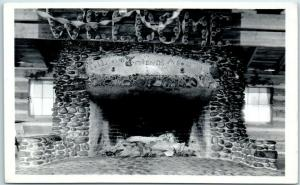 Vintage RPPC Real Photo Postcard Lodge Tell Your Friends About UTMS Fireplace
