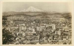 United States real photo postcard Mount Hood and City of Portland